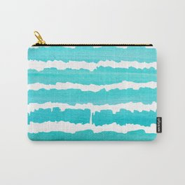 Maritime pattern- Simply aqua handpainted stripes on clear white- horizontal Carry-All Pouch
