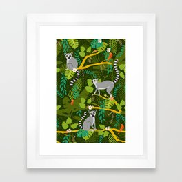 Lemurs in a Green Jungle Framed Art Print