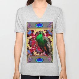 GREEN PEACOCK JEWELS & FEATHERS GREY ART Unisex V-Neck