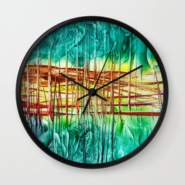 Two choices/ Jump over the Fence, Encaustic Wall Clock
