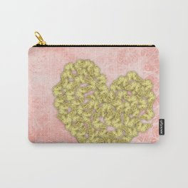 Gold butterflies heart and peach texture Carry-All Pouch