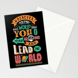 Lab No. 4 You Find Whole World Against Life Inspirational Quotes Stationery Cards