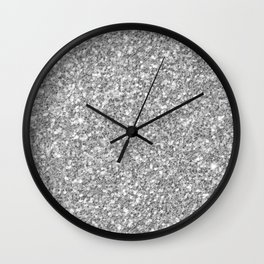 Silver Gray Glitter Wall Clock
