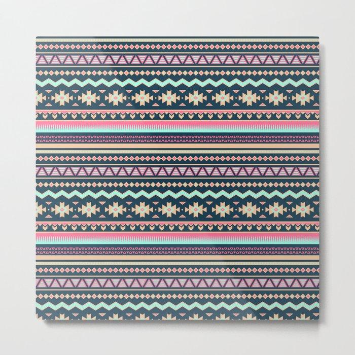 Colorful Aztec Tribal Pattern Metal Print
