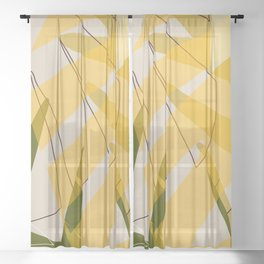 Abstract Palm 01B Sheer Curtain