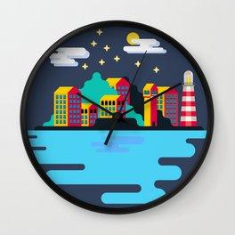 Town on island Wall Clock