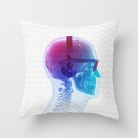 terry fan Throw Pillows featuring Electronic Music Fan by Sitchko Igor