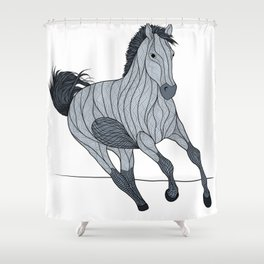 Stylized Stallion Running Free Grayscale Shower Curtain
