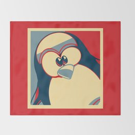 Linux tux penguin Obama poster Throw Blanket