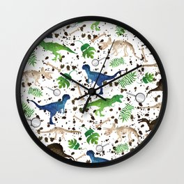 Watercolor Dinosaurs Wall Clock