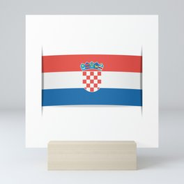 Flag of Croatia.  The slit in the paper with shadows. Mini Art Print