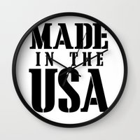 patriots Wall Clocks featuring Made in the USA - black text by Retro Designs