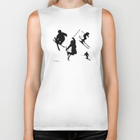 skiing Biker Tanks featuring Skiing silhouettes by By Myyna
