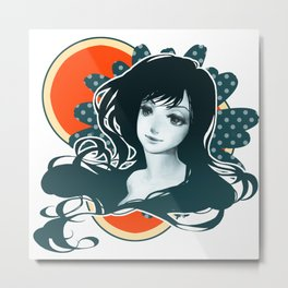 Polka Dot Flower Metal Print