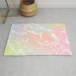 Rainbow unicorn yellow pink purple ombre soft pastels marble pattern Rug