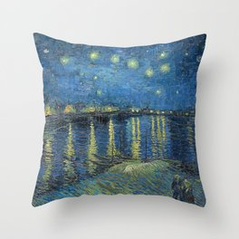 STARRY NIGHT OVER RHONE - VAN GOGH Throw Pillow