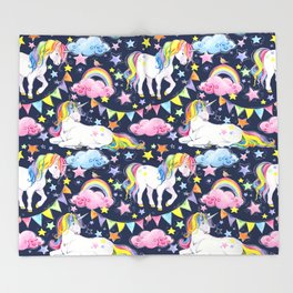Unicorns, Rainbows & Stars Throw Blanket