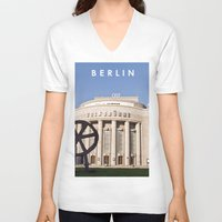 theatre V-neck T-shirts featuring BERLIN OST - VOLKSBÜHNE - Theatre by CAPTAINSILVA