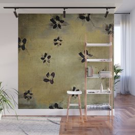 posies on vintage linen Wall Mural