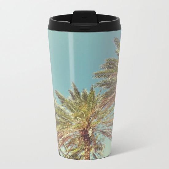 Retro Summer Palm Trees Metal Travel Mug