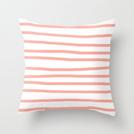 Simply Drawn Stripes Salmon Pink on White Throw Pillow