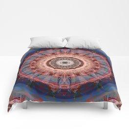 Mandala Glitch Wheel Comforters