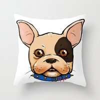 frenchie Throw Pillows featuring Frenchie by The Audyssey