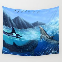 Blue Harmony Wall Tapestry
