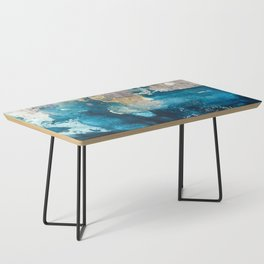 Timeless: A gorgeous, abstract mixed media piece in blue, pink, and gold by Alyssa Hamilton Art Coffee Table