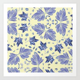 Autumn leaves in light yellow and blue Art Print