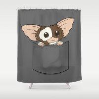 gizmo Shower Curtains featuring Pocket Gizmo (Mogwai) by Li.Ro.Vi
