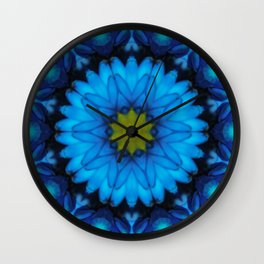 Blue Daisy Abstract Tile 42 Kaleidoscope Wall Clock
