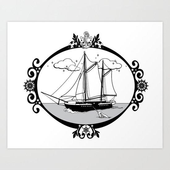 Sailing Ship Oval Art Print