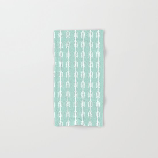 Isabella - minimal arrows mint and white modern dorm college nursery kids art Hand & Bath Towel