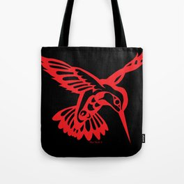 Hummingbird Red on black Tote Bag