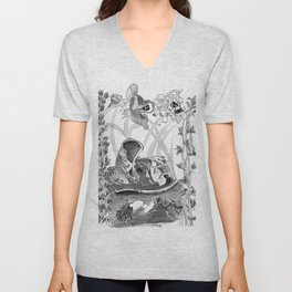 Mouse in the hause illustration Unisex V-Neck