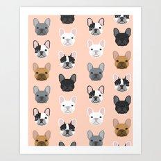 French Bulldog portraits pattern dog person gift love animal pet puppy frenchie bulldog portrait Art Print