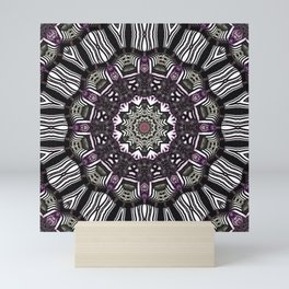Mandala in black and white with hint of purple and green Mini Art Print