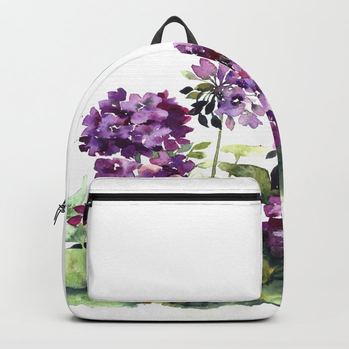 Purple violet pelargonium geranium flowers watercolor Backpack