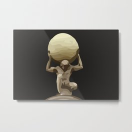 Man with Big Ball Illustration dark grey Metal Print
