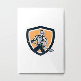 Coal Miner Hardhat Shovel Shield Retro Metal Print