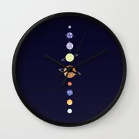 planets Wall Clocks featuring Planets by Dorothy Leigh