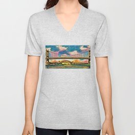 New York & Queens Hell Gate and Triborough Bridges Sunset Landscape Painting Unisex V-Neck