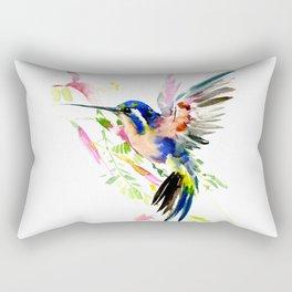 Flying Hummingbird Ultramarine blue peach colors Rectangular Pillow