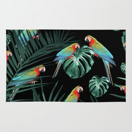 Parrots in the Tropical Jungle Night #2 #tropical #decor #art #society6 Rug