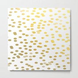 Gold Foil Brushstroke Watercolor Confetti Polka Dots Metal Print