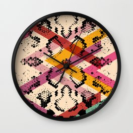Snake skin texture. black magenta orange pink purple print Wall Clock