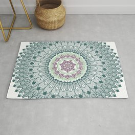 Color teal and purple feather mandala hippie boho Rug