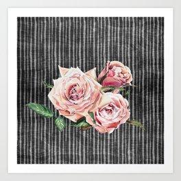 Watercolor Flowers on Dark Burned Wood Art Print