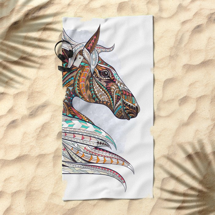 Brown Ethnic Elephant Beach Towel